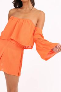 Orange Bardot Crochet Sleeve Crop Top