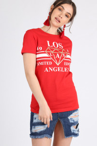 Red Los Angeles Slogan Tee