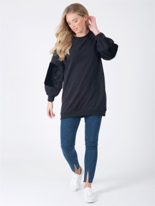 Black Oversized Fur Sleeve Jumper