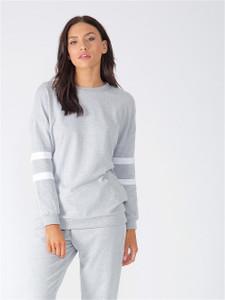 Grey Sports Luxe Stripe Loungwear Suit Set