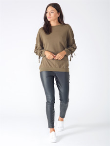 Khaki Lace Up Sleeve Sweat