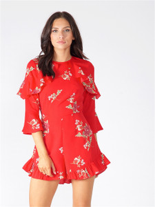 Red Floral Ruffle Shoulder Playsuit