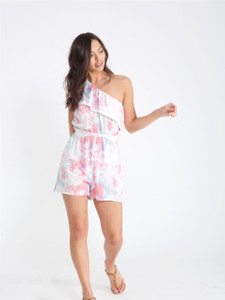 Pink Tie Dye One Shoulder Playsuit