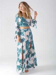 Multi Floral Double Split Maxi Skirt