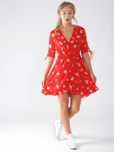 Red Floral Wrap Frill Dress