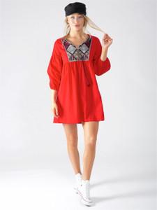 Red Boho Embroidered Smock Dress