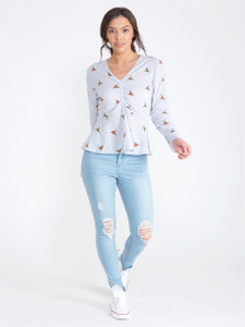 Blue Ditsy Floral Embroidered Top