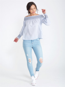 Blue Stripe Contrast Stitch Bardot Top