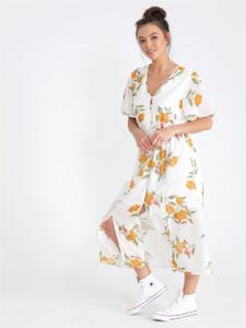 Cream Floral Button Through Maxi Dress