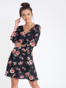 Black Floral Button Detail V Neck Tea Dress