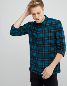 Navy Flannel Tartan Check Shirt