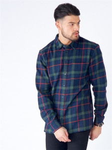 Navy Green Flannel Tartan Check Shirt