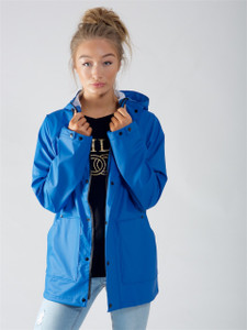 Blue Waterproof Hooded Rain Jacket