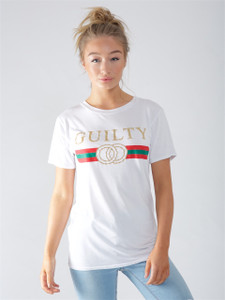 White Guilty Slogan Tee