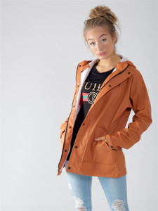 Rust Waterproof Hooded Rain Jacket
