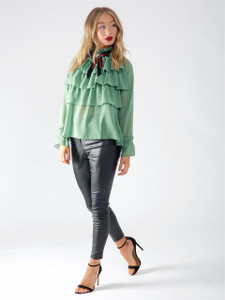 Green High Neck Layered Ruffle Blouse