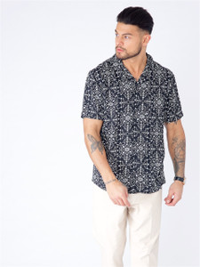 Black Printed Short Sleeve Shirt
