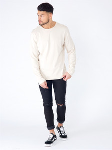Stone Long Sleeve Basic Raw Edge Top