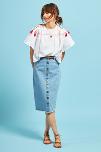 Embroidered Tassel Swing Top