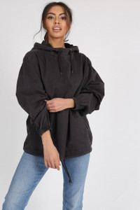 Black Washed Cotton Over the Head Cagoule Jacket