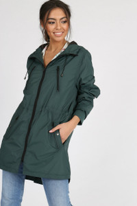 Green Longline Waterproof Hooded Rain Jacket