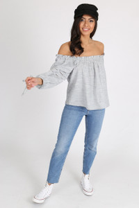 Grey Bardot Balloon Sleeve Top