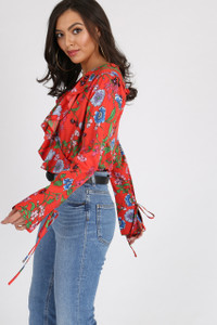 Orange Print Floral Ruffle Frill Wrap Bodysuit