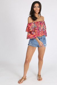 Multi Tropical Bardot Frill Sleeve Crop Top