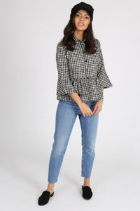 Gingham Check Double Layer Peplum Shirt
