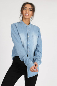 Blue Distressed Denim Grandad Collar Shirt