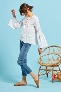 Wide Sleeve Embroidered Blouse