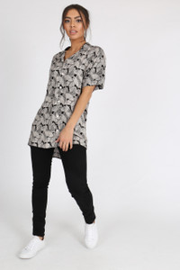 Black Layered Leaf Print Flat Collar Shirt