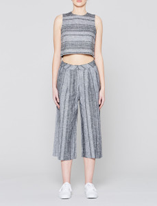 Grey Boxy Striped Crop Top