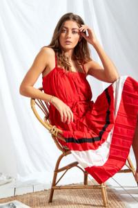 Sports Stripe Pleated Midi Dress