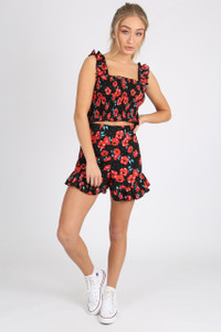 Black Poppy Print Ruffle hem Shorts