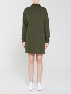 Olive Front Split Jersey Dress