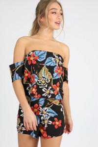 Black Floral Double Layer Bardot Playsuit