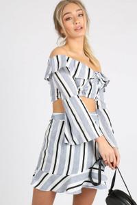 Blue Stripe Flute Sleeve Bardot Crop Top