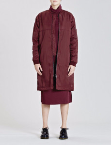 Burgundy Longline Bomber Jacket With Contrast Lining