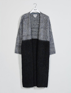 Grey Maxi Colourblock Coatigan