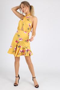 Yellow Floral Self Tie Halter Neck Mini Dress