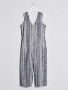 Grey Striped Wide Leg Jumpsuit