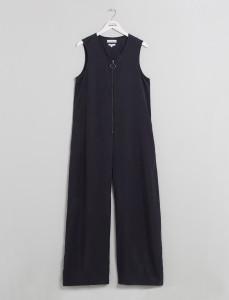 Indigo Zip Front Wide Leg Jumpsuit