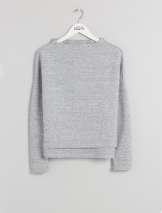 Grey Mock Neck Raw Edge Sweat