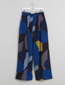 Blue Printed Wide Leg Pants