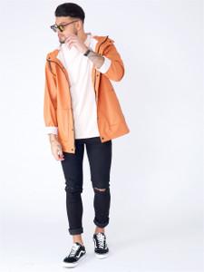 Rust Waterproof Hooded Rain Jacket With Drawcord