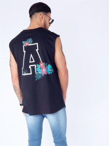 Black Embroidered Tank Vest