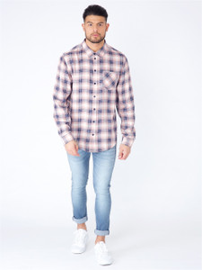 Blue Pink Long Sleeve Shadow Check Shirt