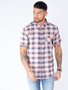 Pink Short Sleeve Shadow Check Shirt