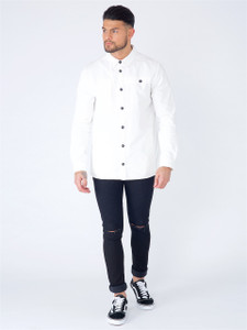 White Long Sleeve Cotton Twill Overshirt